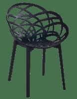 Крісло Papatya Flora матово-чорне сидіння, ніжки матові чорні, фото 1