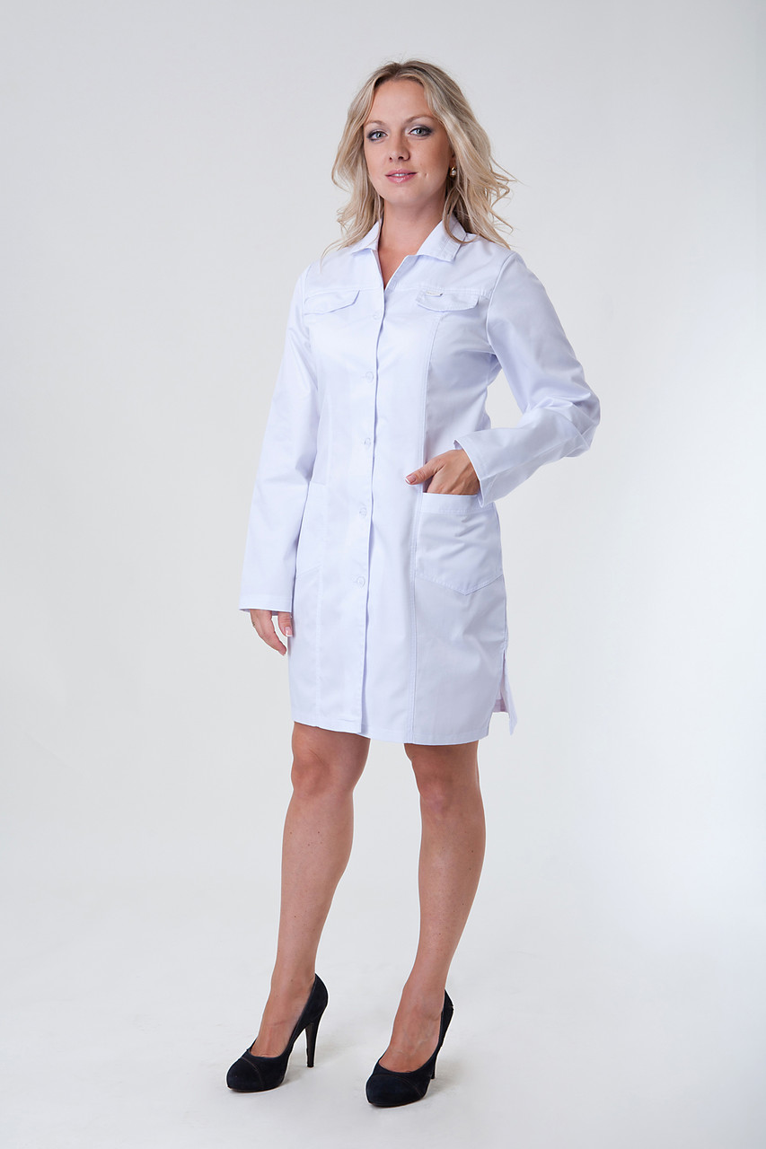 Женский медицинский халат белый  40-50