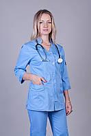 Женский медицинский костюм голубой 42-64