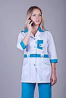 Женский медицинский костюм белый+синий