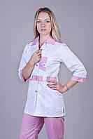 Женский медицинский костюм белый+розовый 40-60
