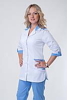 Женский медицинский костюм белый+голубой 40-66