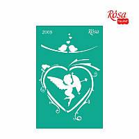 Трафарет многоразовый самоклеющийся 13x20 см №2009 Серия Влюбленные сердца