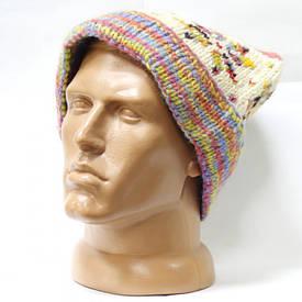 Шерстяная шапка вязаная с подворотом помпон узор светлая