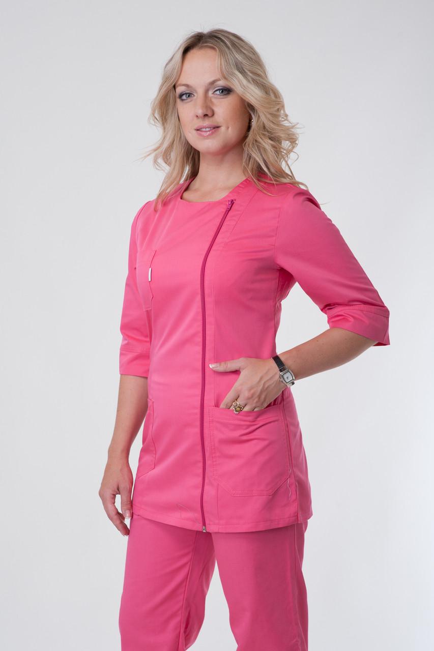 Женский медицинский костюм на молнии розовый 40-56
