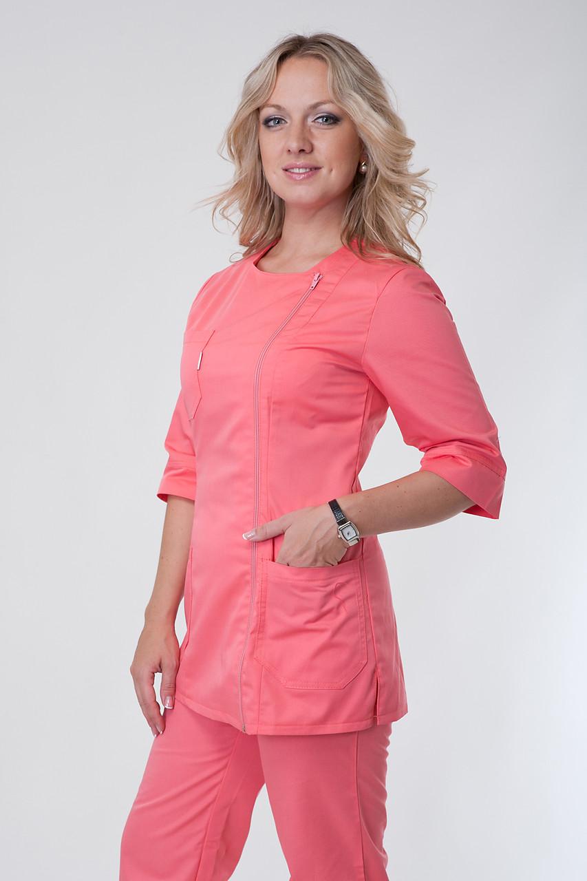 Женский медицинский костюм на молнии коралл 40-56