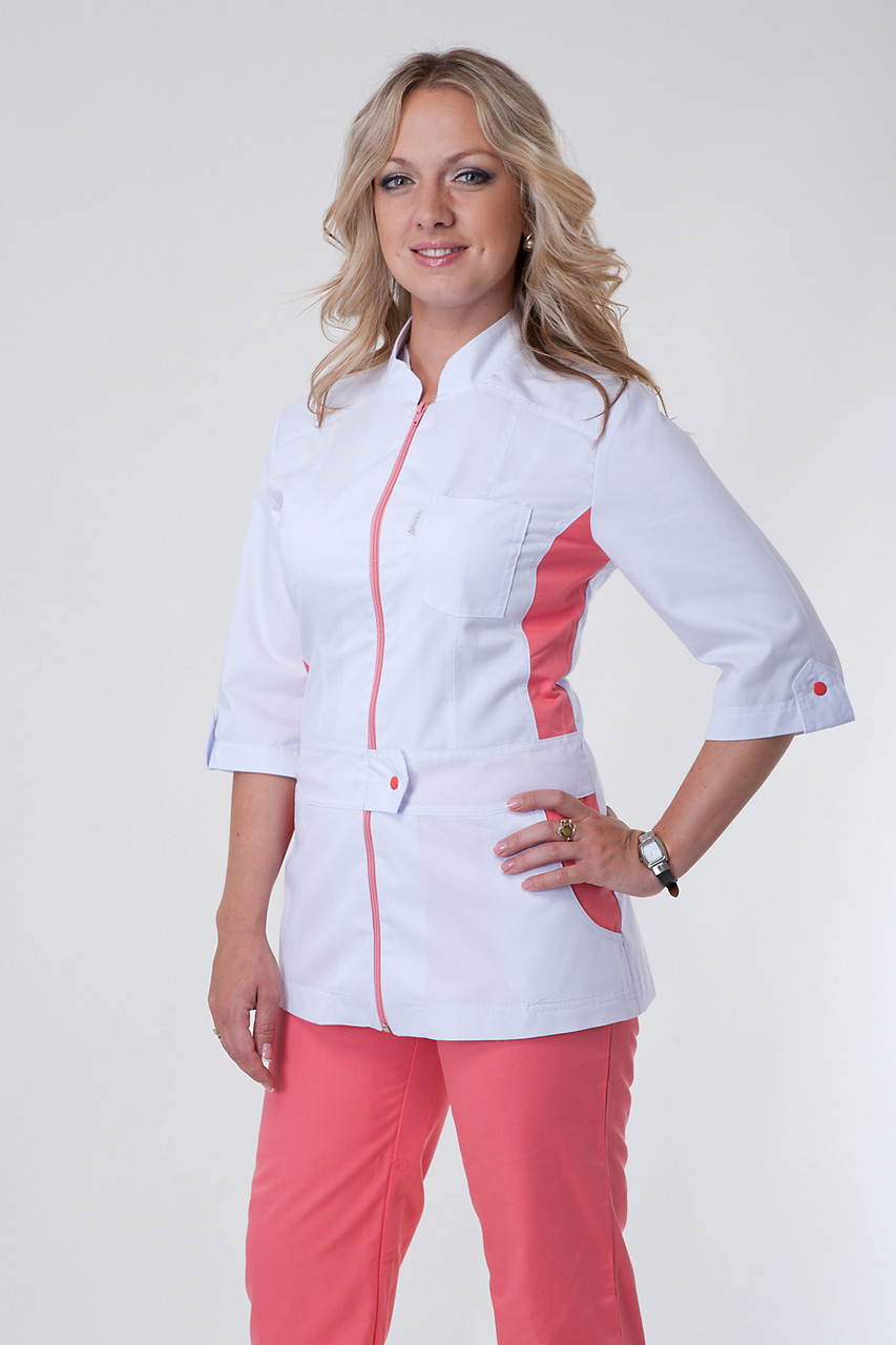 Женский медицинский костюм на молнии белый+коралл 40-56