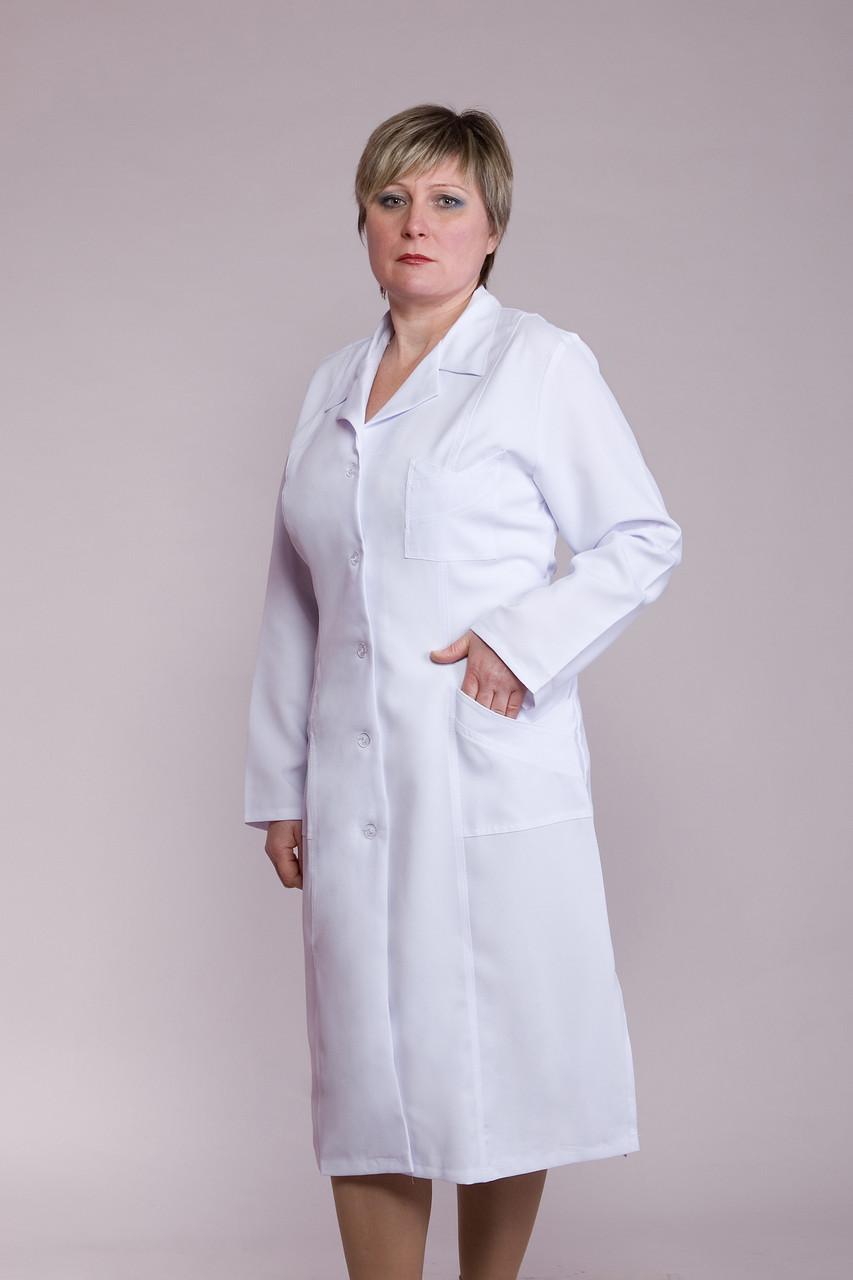 Жіночий медичний халат білий 48-66