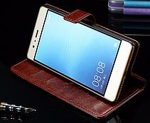 Кожаный чехол-книжка для Huawei P9 коричневый, фото 2