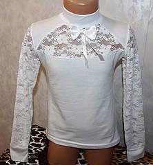 Нарядная белая кофта на девочку с гипюровыми рукавами  6,8,10,12 лет 100 % хлопок