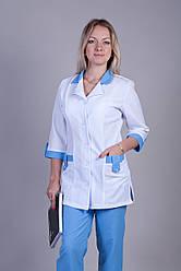 Женский медицинский костюм белый+голубой   40-64