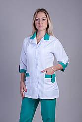 Женский медицинский костюм белый+зеленый 40-64