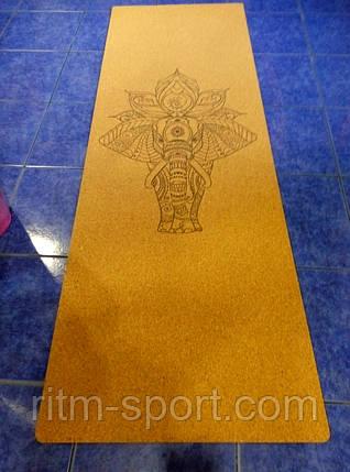 Килимок для йоги двошаровий Корковий (основа органічний каучук), фото 2