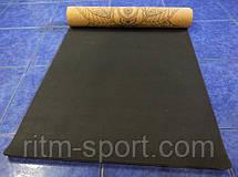 Килимок для йоги двошаровий Корковий (основа органічний каучук), фото 3