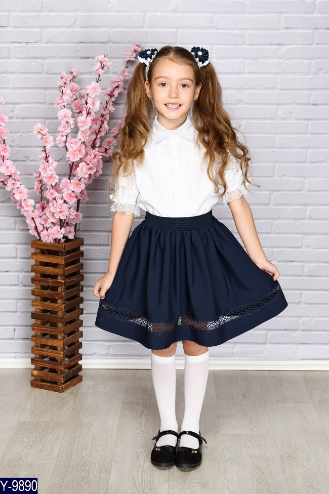 Юбка школьная со вставкой ткань тиар и  креп костюмка 122,128,134 Чёрная и синяя