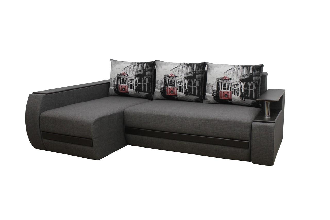 Угловой диван Garnitur.plus Граф грей 245 см