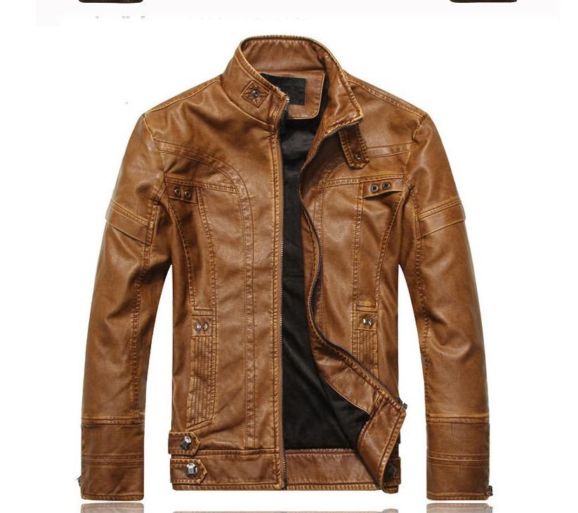Мужская демисезонная кожаная куртка. Арт.В1005