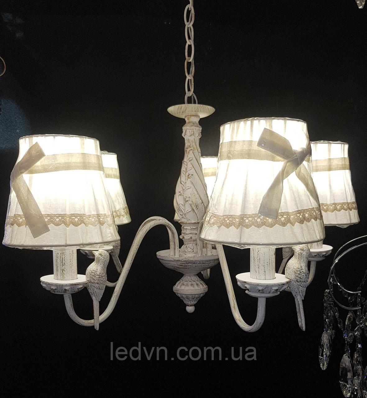 Классическая подвесная люстра с тканевыми абажурами (Птички)На 5 лампочек