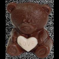 Шоколадна фігурка Солодкий Світ 60г Ведмедик з білим серцем молочний шок.