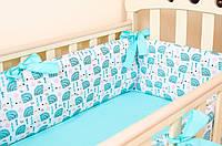 Бортики в детскую кроватку BabySoon Мятные ежики 360см х 27см  (511), фото 1