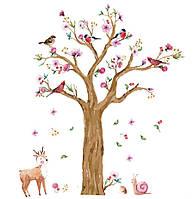 Наклейка виниловая Дерево с птицами, фото 1