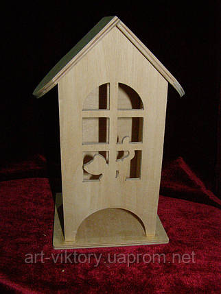 Деревянная коробка для чая котенок в арочном окне (10 х 10 х 23 см), фото 2