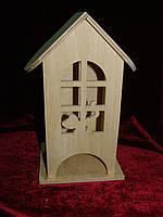 Деревянная коробка для чая котенок в арочном окне (10 х 10 х 23 см)