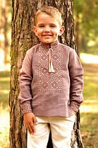 Детская льняная рубашка для мальчика с вышивкой цвета какао