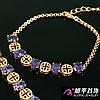 Браслет позолота Овальные камни Фиолетовые