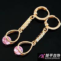 Серьги позолота с розовым камнем
