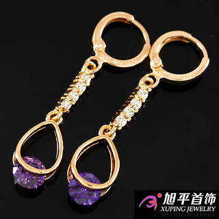 Серьги позолота с фиолетовым камнем
