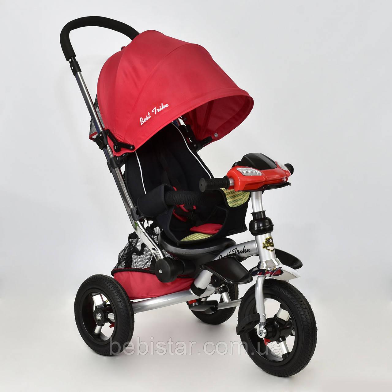 """Детский трехколесный велосипед музыка свет """"Best Trike 698-7"""" красный надувные колеса"""