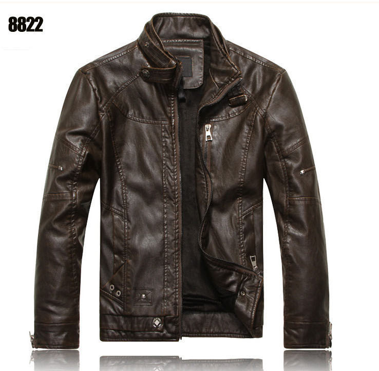 Мужская куртка.Демисезонная кожаная куртка. ( В8822 )