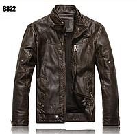 Чоловіча куртка з еко-шкіри, коричнева. ( В8822 )