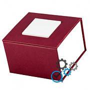 Подарочная коробка для часов бордовая с белым квадратом