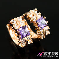 Серьги позолота с фиолетовым камнем камнем