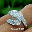 Незвичайне срібне родированное кільце з цирконієм - Брендове срібне кільце жіноче, фото 8