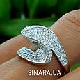 Необычное серебряное родированное кольцо с цирконием - Брендовое серебряное кольцо женское, фото 8