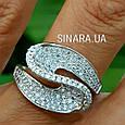 Необычное серебряное родированное кольцо с цирконием - Брендовое серебряное кольцо женское, фото 7