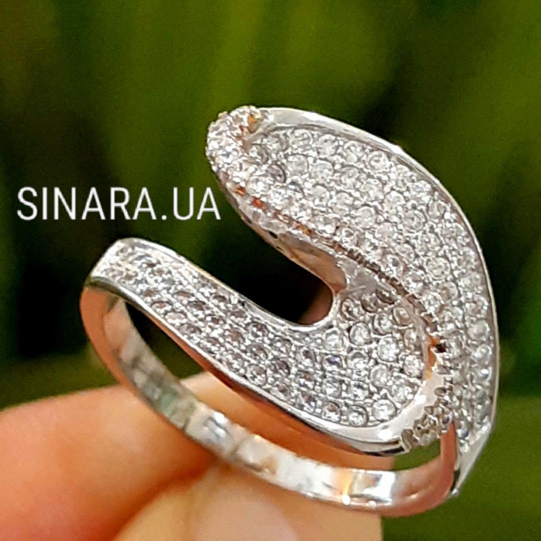 Необычное серебряное родированное кольцо с цирконием - Брендовое серебряное кольцо женское