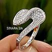 Незвичайне срібне родированное кільце з цирконієм - Брендове срібне кільце жіноче, фото 6