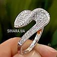 Необычное серебряное родированное кольцо с цирконием - Брендовое серебряное кольцо женское, фото 6