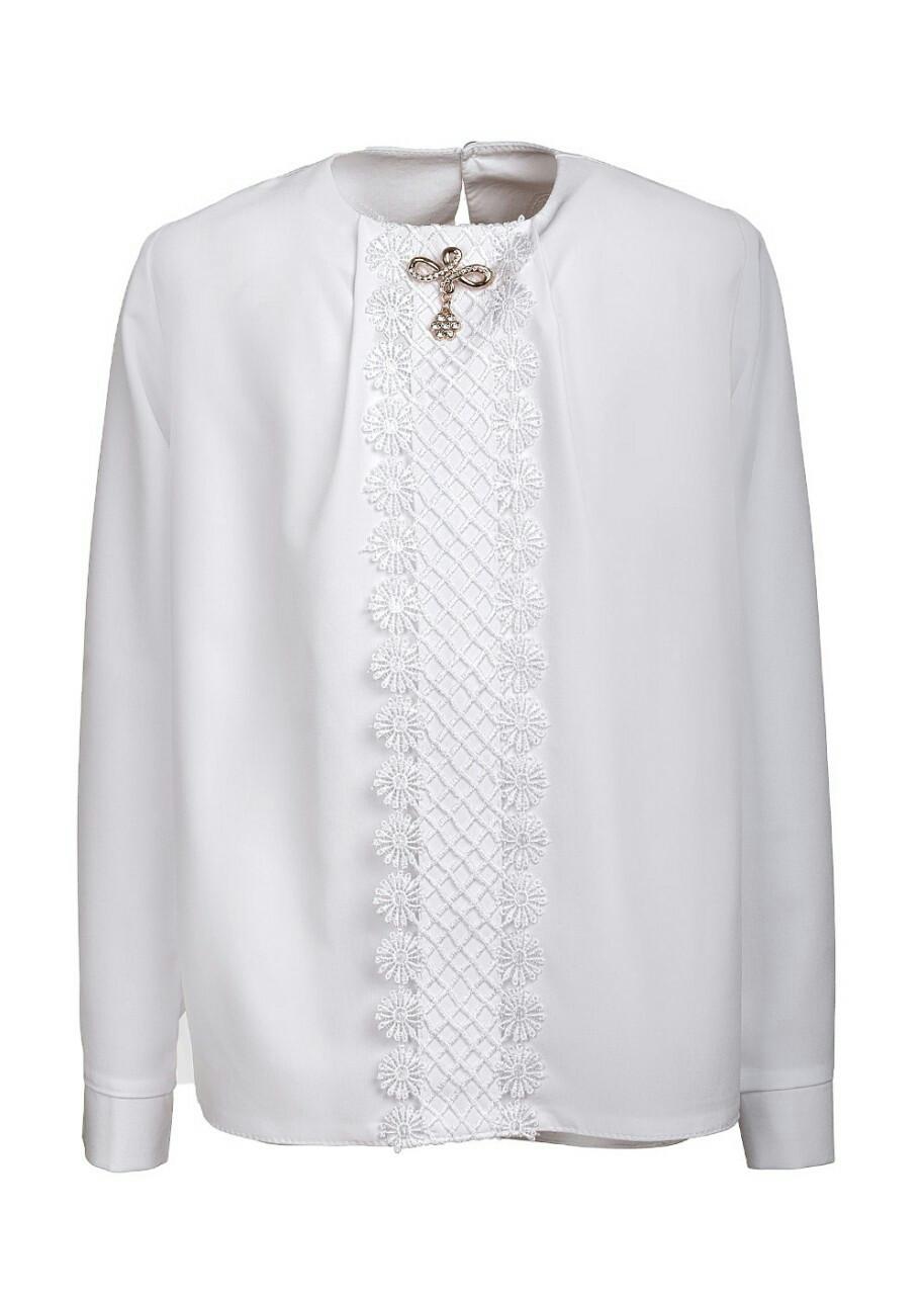 Стильная оригинальная белоснежная блузка в школу р.128-146