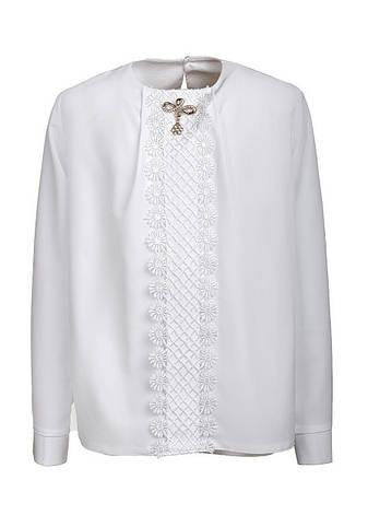 Стильная оригинальная белоснежная блузка в школу р.128-146, фото 2