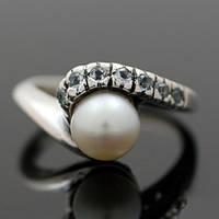 """Серебряное кольцо """"Ocean Wave"""" с жемчужиной и топазами от WickerRing"""
