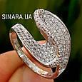 Необычное серебряное родированное кольцо с цирконием - Брендовое серебряное кольцо женское, фото 5