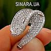 Необычное серебряное родированное кольцо с цирконием - Брендовое серебряное кольцо женское, фото 4