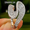 Незвичайне срібне родированное кільце з цирконієм - Брендове срібне кільце жіноче, фото 2