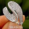 Незвичайне срібне родированное кільце з цирконієм - Брендове срібне кільце жіноче, фото 3