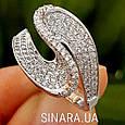 Необычное серебряное родированное кольцо с цирконием - Брендовое серебряное кольцо женское, фото 3